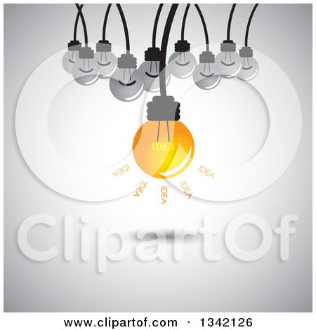 Clipart of a Suspended Idea Light Bulb and Plain Bulbs over Shading - Royalty Free Vector Illustration by ColorMagic