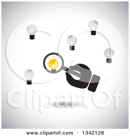 Clipart of a Hand Holding a Magnifying Glass over a Unique Light Bulb, over Shading - Royalty Free Vector Illustration by ColorMagic