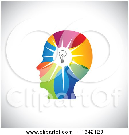 Clipart of a Colorful Human Head Silhouette with a Shining Light Bulb over Shading - Royalty Free Vector Illustration by ColorMagic