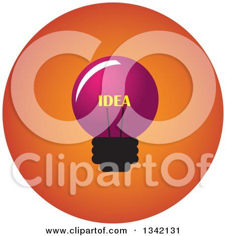 Clipart of a Round Pink and Orange Idea Light Bulb Button App Icon Design Element - Royalty Free Vector Illustration by ColorMagic