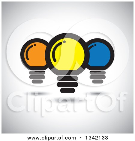 Clipart of Yellow Orange and Blue Light Bulbs over Shading - Royalty Free Vector Illustration by ColorMagic