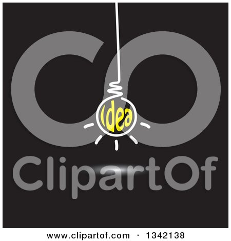 Clipart of a Suspended White and Yellow Idea Text Light Bulb on Black - Royalty Free Vector Illustration by ColorMagic