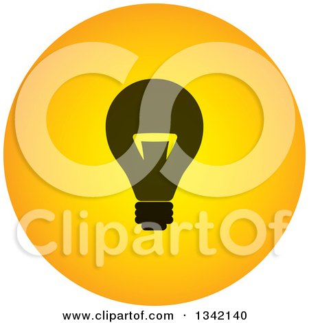 Clipart of a Round Black and Yellow Light Bulb Button App Icon Design Element - Royalty Free Vector Illustration by ColorMagic