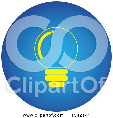 Clipart of a Round Yellow and Blue Light Bulb Button App Icon Design Element - Royalty Free Vector Illustration by ColorMagic