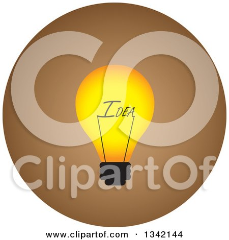 Clipart of a Round Yellow and Brown Idea Light Bulb Button App Icon Design Element - Royalty Free Vector Illustration by ColorMagic