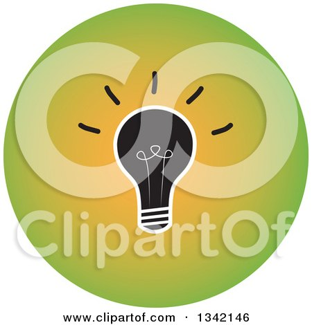 Clipart of a Round Green Light Bulb Button App Icon Design Element - Royalty Free Vector Illustration by ColorMagic