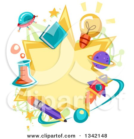 Clipart Of A Science Star Burst Frame Bordered in Related Items - Royalty Free Vector Illustration by BNP Design Studio