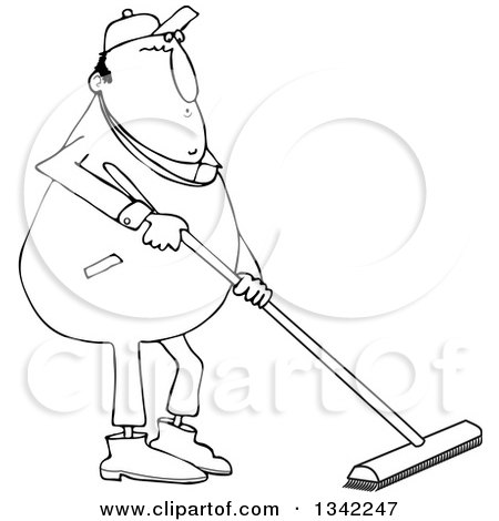 Lineart Clipart of a Cartoon Black and White Chubby Worker Man Using a Push Broom - Royalty Free Outline Vector Illustration by djart
