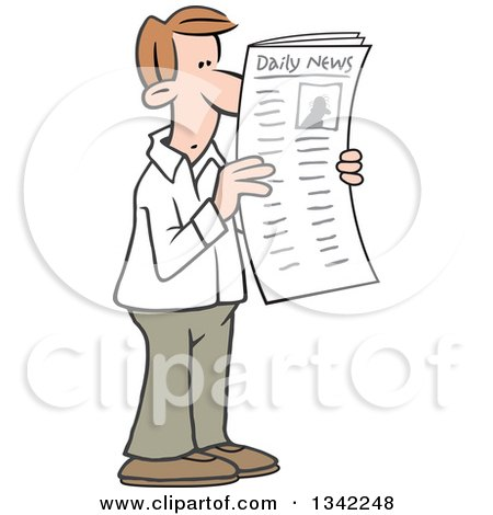 Clipart of a Cartoon White Man Reading Articles in the Newspaper - Royalty Free Vector Illustration by Johnny Sajem
