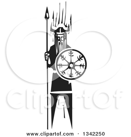 Clipart of a Black and White Woodcut Viking Holding a Mystic Wheel Shield and Spear - Royalty Free Vector Illustration by xunantunich