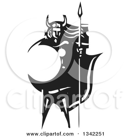 Clipart of a Black and White Woodcut Viking Warrior with Long Hair, Standing with a Sword and Shield - Royalty Free Vector Illustration by xunantunich