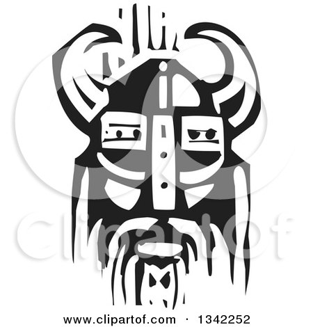 Clipart of a Black and White Woodcut Viking Face in a Horned Helmet - Royalty Free Vector Illustration by xunantunich