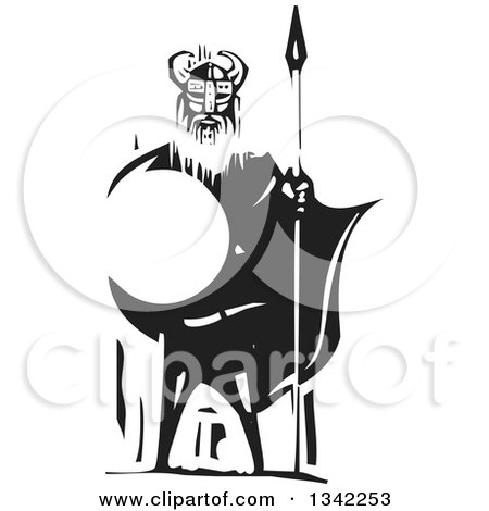 Clipart of a Black and White Woodcut Viking Warrior Standing with a Sword and Shield - Royalty Free Vector Illustration by xunantunich