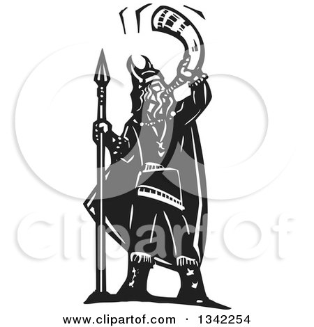 Clipart of a Black and White Woodcut Viking Warrior Standing with a Shield and Blowing a War Horn - Royalty Free Vector Illustration by xunantunich
