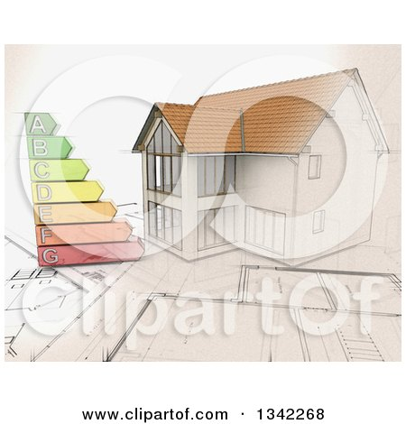 Clipart of a Partial Sketched Partial 3d Custom Home on Blueprints, with an Energy Rating Chart - Royalty Free Illustration by KJ Pargeter