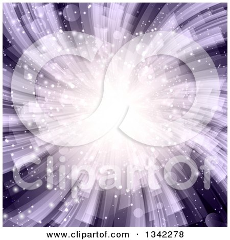 Clipart of a Purple Burst and Flare Background - Royalty Free Vector Illustration by KJ Pargeter