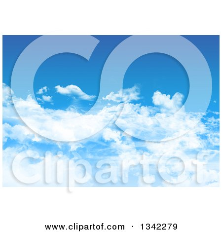 Clipart of a Blue Sky with Fluffy Clouds - Royalty Free Illustration by KJ Pargeter