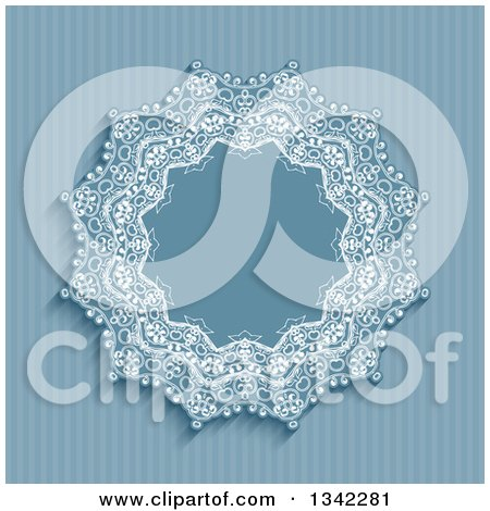 Clipart of a Retro Blue Stripe and Doily Frame Background - Royalty Free Vector Illustration by KJ Pargeter