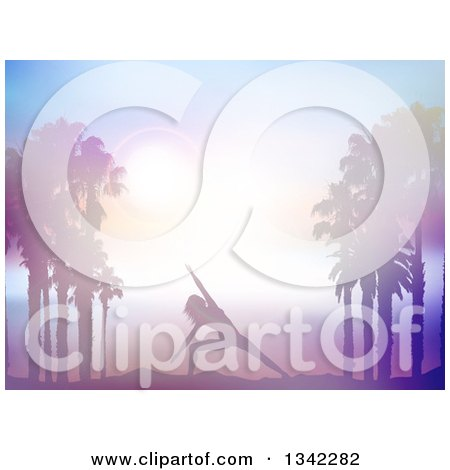 Clipart of a Fit Silhouetted Woman Doing Yoga Between Palm Trees Against a Sunset in Purple Tones - Royalty Free Vector Illustration by KJ Pargeter