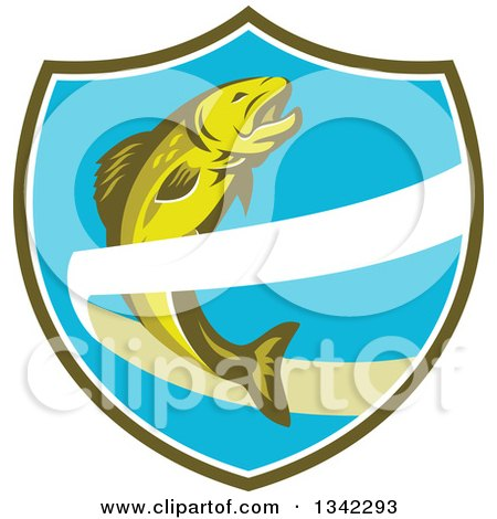 Clipart of a Retro Trout Fish Jumping over a Ribbon in a Green White and Blue Shield - Royalty Free Vector Illustration by patrimonio