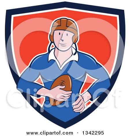 Clipart of a Retro Cartoon White Male Rugby Player Holding the Ball in a Blue White and Red Shield - Royalty Free Vector Illustration by patrimonio