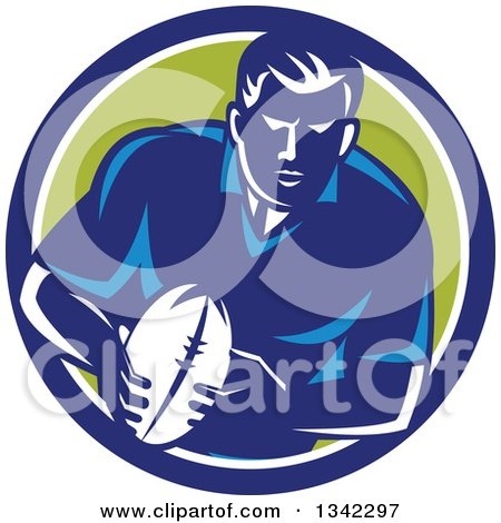 Clipart of a Retro Male Rugby Player with the Ball Inside a Blue White and Green Circle - Royalty Free Vector Illustration by patrimonio