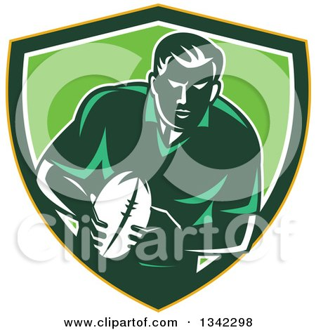 Clipart of a Retro Male Rugby Player with the Ball Inside a Yellow Green and White Shield - Royalty Free Vector Illustration by patrimonio