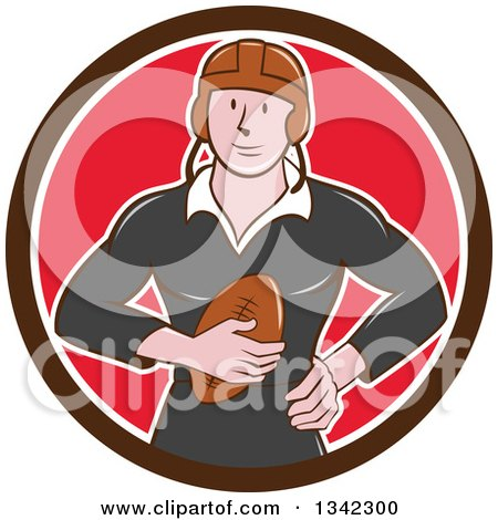 Clipart of a Retro Cartoon White Male Rugby Player Holding the Ball in a Brown White and Red Circle - Royalty Free Vector Illustration by patrimonio