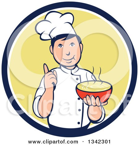 Clipart of a Retro Cartoon Male Chef Holding a Hot Bowl of Soup in a Navy Blue White and Yellow Circle - Royalty Free Vector Illustration by patrimonio