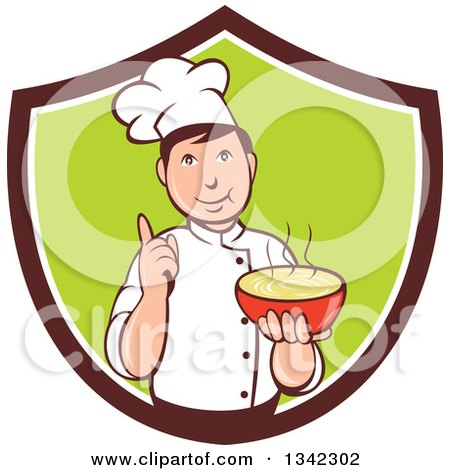 Clipart of a Retro Cartoon Male Chef Holding a Hot Bowl of Soup in a Brown White and Green Shield - Royalty Free Vector Illustration by patrimonio