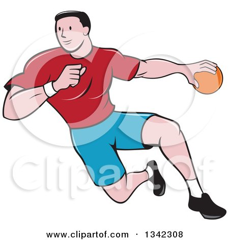 Clipart of a Retro Cartoon Male Handball Player in Action - Royalty Free Vector Illustration by patrimonio