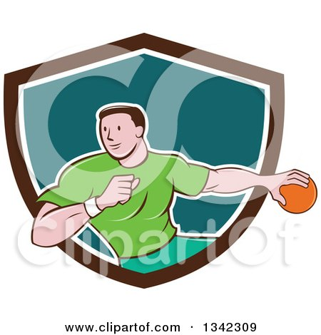 Clipart of a Retro Cartoon Male Handball Player in Action, Emerging from a Brown White and Teal Shield - Royalty Free Vector Illustration by patrimonio