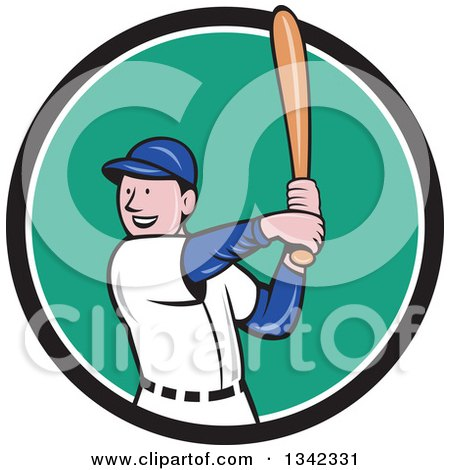 Clipart of a Cartoon White Male Baseball Player Athlete Batting in a Black White and Turquoise Circle - Royalty Free Vector Illustration by patrimonio