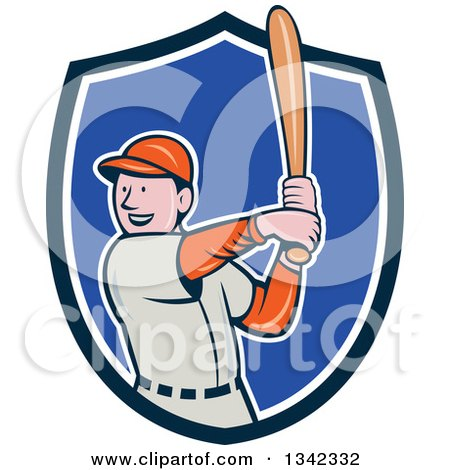Clipart of a Cartoon White Male Baseball Player Athlete Batting in a Blue and White Shield - Royalty Free Vector Illustration by patrimonio