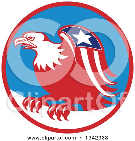 Clipart of a Retro Cartoon American Bald Eagle with a Patriotic Wing in a Red Blue and White Circle - Royalty Free Vector Illustration by patrimonio