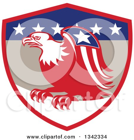 Clipart of a Retro Cartoon American Bald Eagle with a Patriotic Wing in a Red Tan Blue and White Shield - Royalty Free Vector Illustration by patrimonio