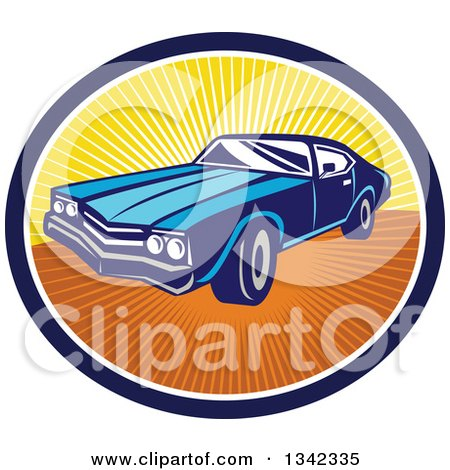 Clipart of a Retro Blue American Muscle Car in a Navy Blue, White and Sunset Ray Oval - Royalty Free Vector Illustration by patrimonio