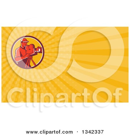 Clipart of a Retro Male Cameraman Filming in a Circle and Yellow Rays Background or Business Card Design - Royalty Free Illustration by patrimonio