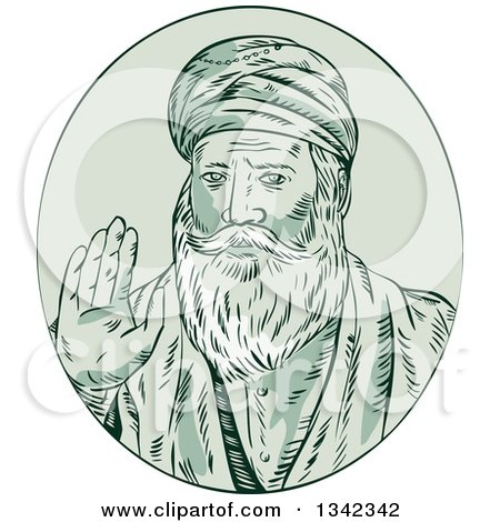 Clipart of a Retro Sketched Sikh Guru Nanak Ji Priest Waving in a Green Oval - Royalty Free Vector Illustration by patrimonio
