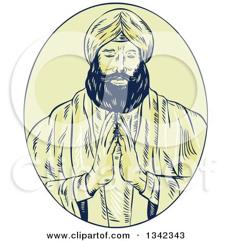 Clipart of a Retro Sketched Sikh Guru Priest Praying in a Yellow Oval - Royalty Free Vector Illustration by patrimonio