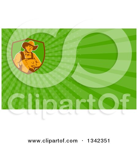 Clipart of a Retro Male Farmer Holding a Piglet in a Shield and Green Rays Background or Business Card Design - Royalty Free Illustration by patrimonio