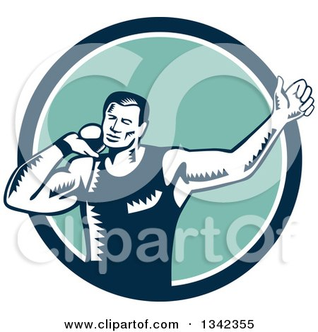 Clipart of a Retro Woodcut Male Shot Put Athlete Throwing in a Blue White and Turquoise Circle - Royalty Free Vector Illustration by patrimonio