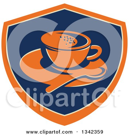 Clipart of a Retro Coffee Cup, Spoon and Saucer in an Orange Blue and Tan Shield - Royalty Free Vector Illustration by patrimonio