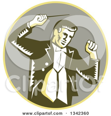 Clipart of a Retro Woodcut Male Music Conductor Holding a Baton in a Yellow and Taupe Circle - Royalty Free Vector Illustration by patrimonio