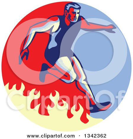 Clipart of a Retro Man Jumping over a Fire in an Obstacle Race Inside a Blue Red and Tan Circle - Royalty Free Vector Illustration by patrimonio