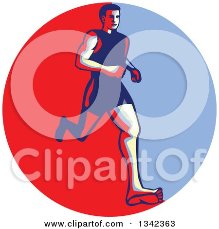 Clipart of a Retro Male Barefoot Runner in a Red Circle - Royalty Free Vector Illustration by patrimonio