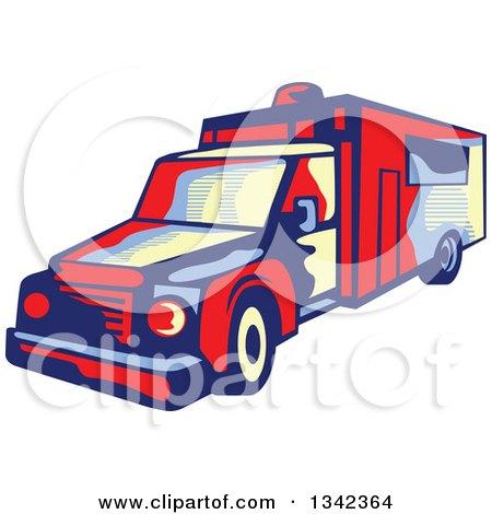 Clipart of a Retro Ambulance Emergency Vehicle - Royalty Free Vector Illustration by patrimonio