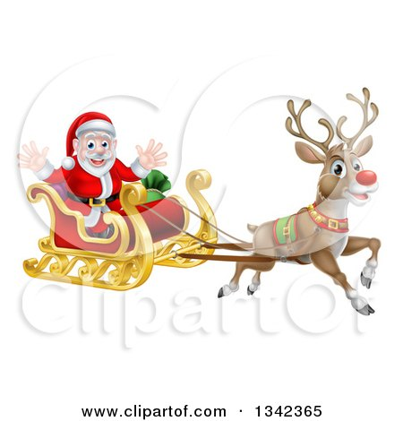 Clipart of a Red Nosed Reindeer, Rudolph, Flying Santa in a Sleigh - Royalty Free Vector Illustration by AtStockIllustration