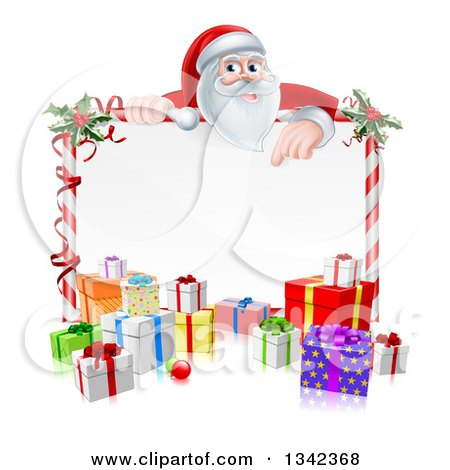 Clipart of a Cartoon Christmas Santa Claus Pointing down over a Blank Sign with Gifts 2 - Royalty Free Vector Illustration by AtStockIllustration