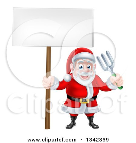 Clipart of a Cartoon Santa Holding a Blank Sign and Garden Fork 2 - Royalty Free Vector Illustration by AtStockIllustration